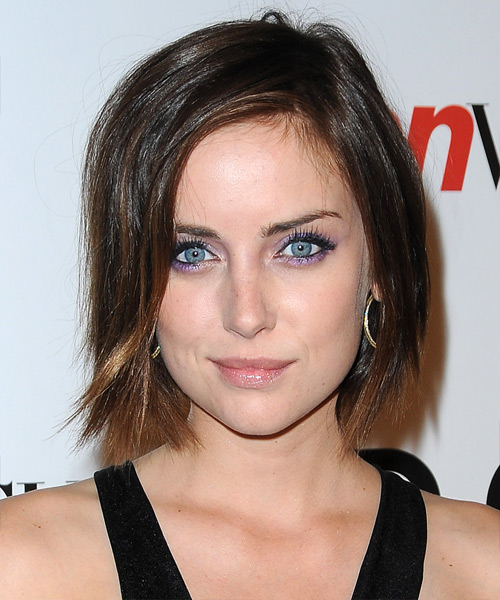 Jessica Stroup Medium Straight Casual Bob Hairstyle - Dark Brunette Hair Color