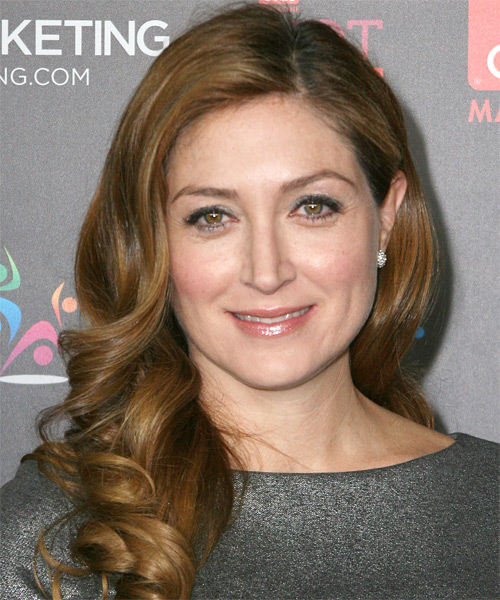 Sasha Alexander Long Wavy Hairstyle - Light Brunette (Chestnut)