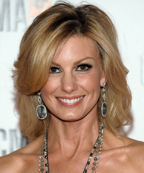 Faith Hill Medium Straight Formal  with Side Swept Bangs - Dark Blonde (Golden)