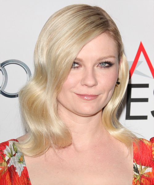 Kirsten Dunst Medium Wavy Formal Hairstyle - Light Blonde Hair Color