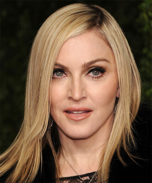 Madonna Medium Straight Formal Hairstyle - Light Blonde Hair Color