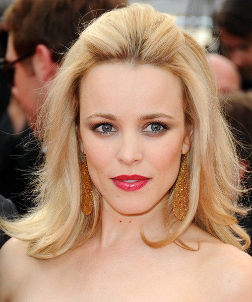 Rachel McAdams - Formal Half Up Medium Straight Hairstyle