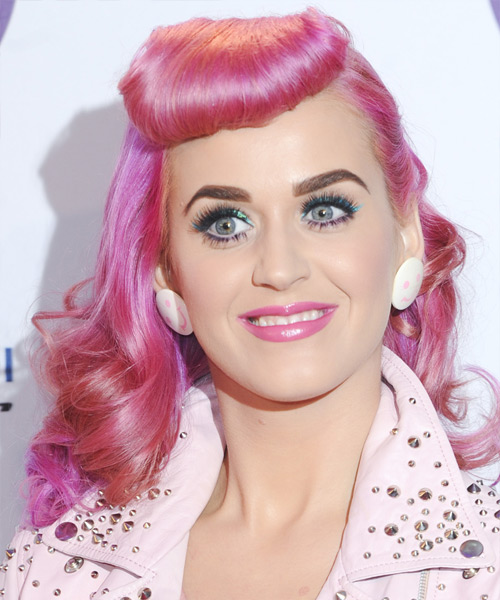 Katy Perry Long Wavy Hairstyle - Pink (Bright)