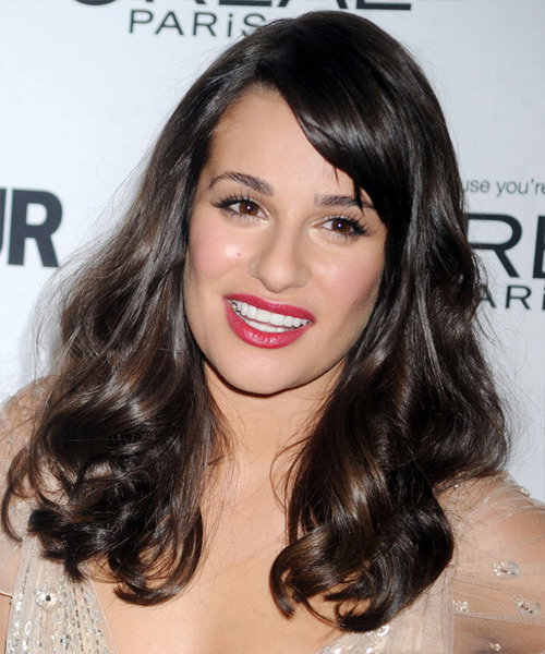 Lea Michele Long Wavy Hairstyle - Dark Brunette (Mocha)