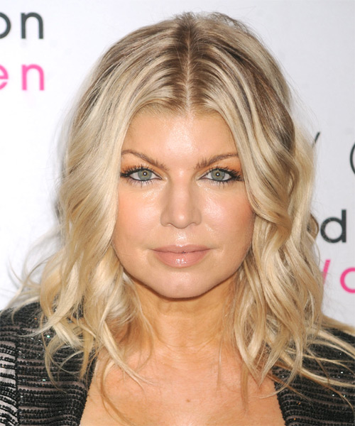 Fergie Medium Wavy Casual Hairstyle - Light Blonde (Ash) Hair Color