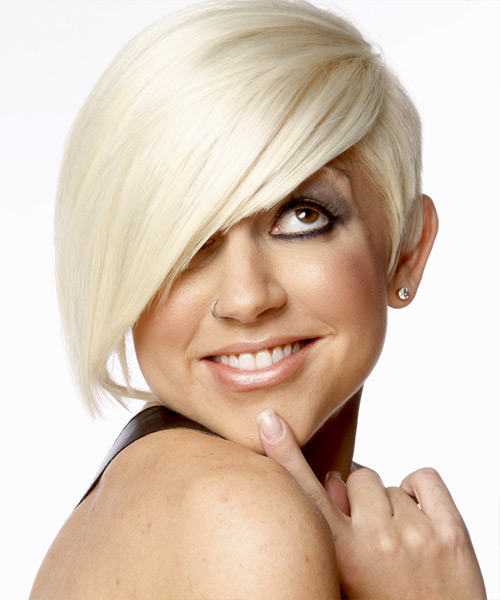 Short Straight platinum blonde hairstyle with Long Eye-Skimming Fringe