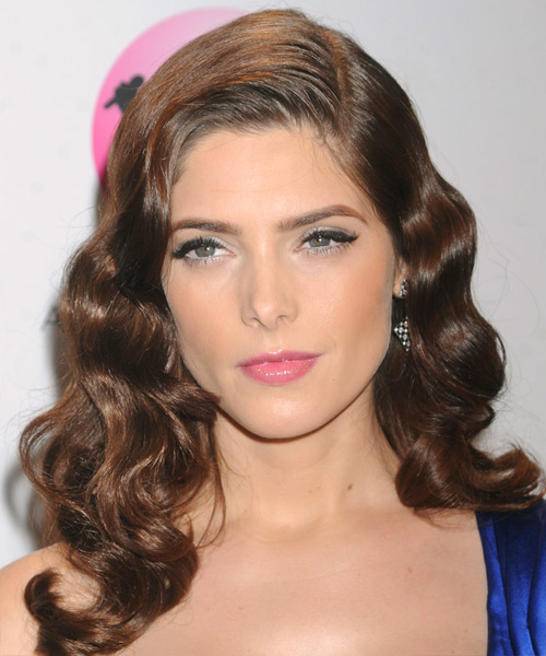 Ashley Greene Long Wavy Formal Hairstyle - Medium Brunette (Chocolate) Hair Color