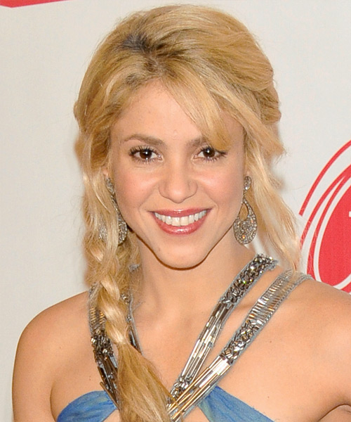 Shakira Curly Casual Half Up Hairstyle with Side Swept Bangs - Light Blonde (Golden) Hair Color
