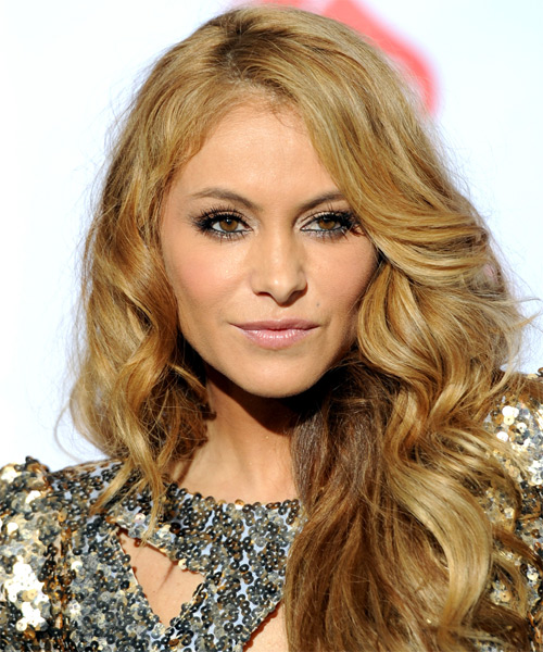 Paulina Rubio Long Wavy Formal Hairstyle - Medium Blonde (Golden) Hair Color