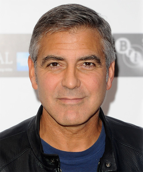 George Clooney Short Straight Formal Hairstyle - Light Grey (Salt and Pepper) Hair Color