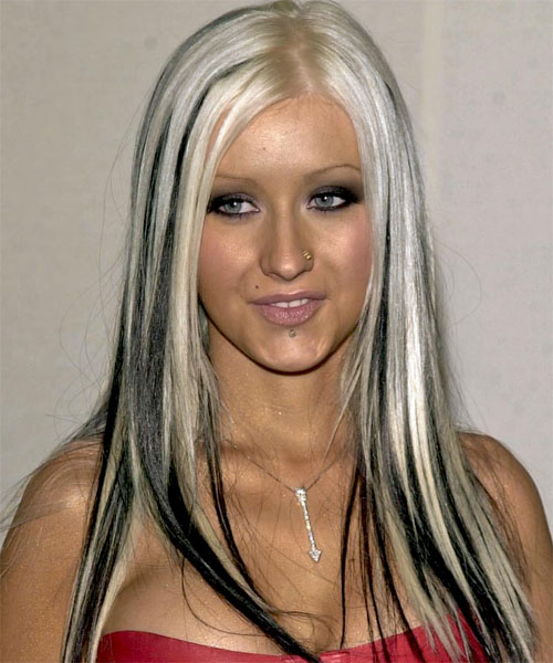 Christina Aguilera Long Straight Alternative Hairstyle - Light Blonde (White) Hair Color