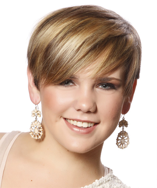 Short Straight Casual Hairstyle with Side Swept Bangs - Dark Blonde Hair Color