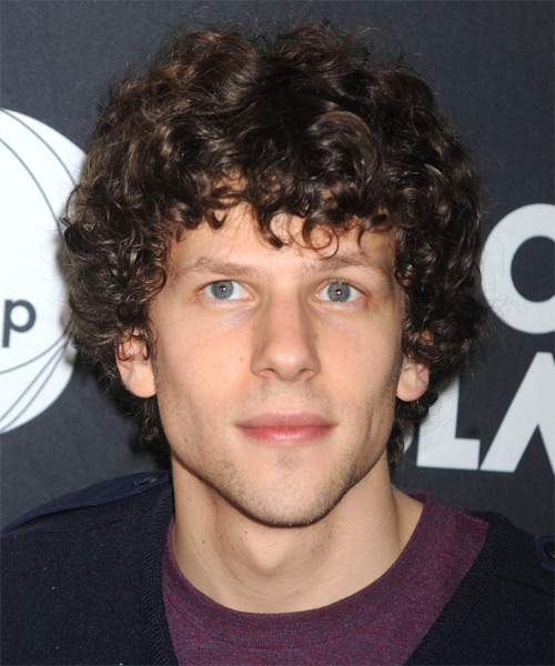 Jesse Eisenberg Medium Curly Casual Hairstyle - Dark Brunette Hair Color