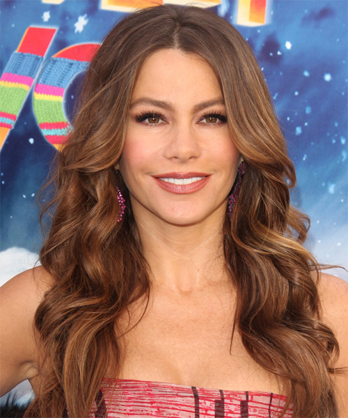 Sofia Vergara Long Wavy Formal Hairstyle - Medium Brunette Hair Color