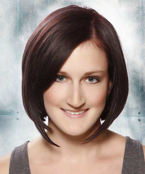 Medium Straight Formal Bob Hairstyle - Dark Brunette (Plum) Hair Color