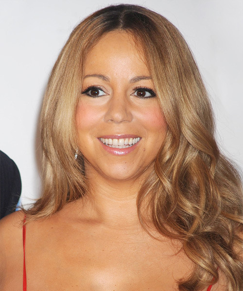 Mariah Carey Long Wavy Formal Hairstyle - Dark Blonde (Caramel) Hair Color