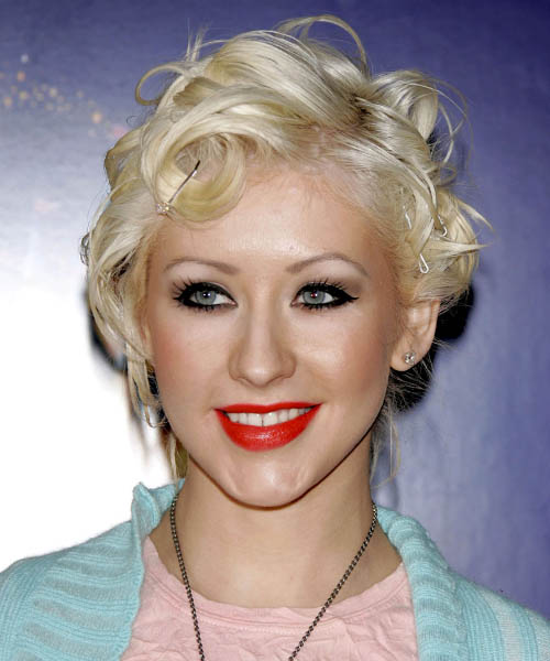 Christina Aguilera Medium Wavy Emo Hairstyle