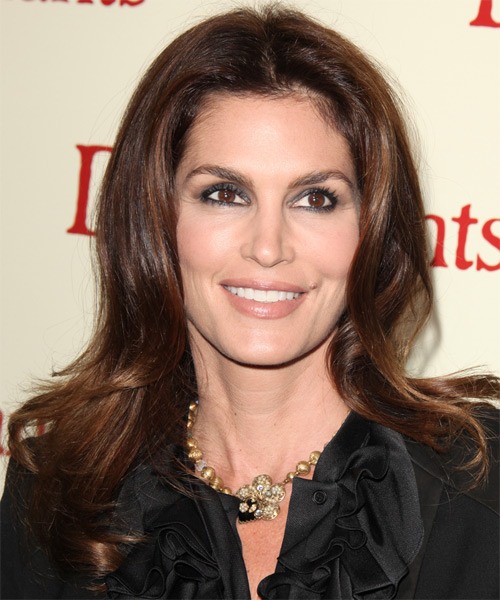 Cindy Crawford Long Straight Hairstyle - Medium Brunette (Chocolate)