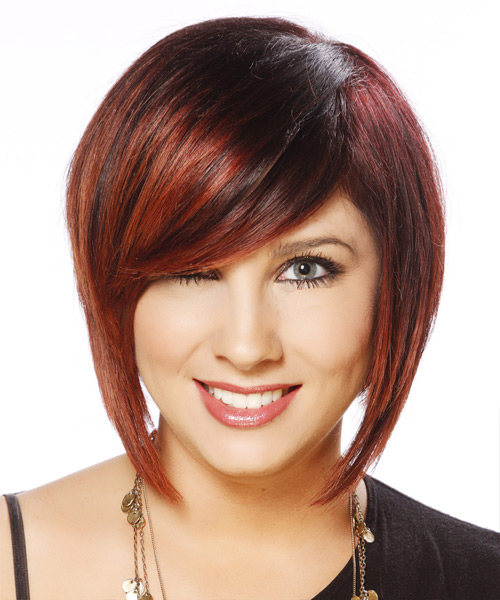 Short Straight Casual Bob Hairstyle with Side Swept Bangs - Dark Red Hair Color