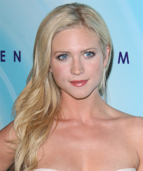 Brittany Snow Long Wavy Formal Hairstyle - Light Blonde (Platinum) Hair Color