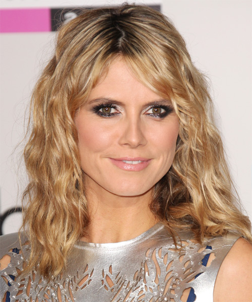 Heidi Klum Medium Wavy Hairstyle - Dark Blonde (Golden)
