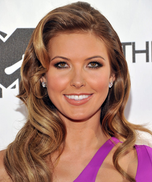 Audrina Patridge Long Wavy Hairstyle - Medium Brunette (Caramel)