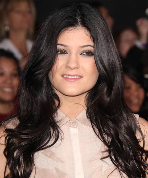 Kylie Jenner Long Wavy Casual Hairstyle - Dark Brunette (Mocha) Hair Color