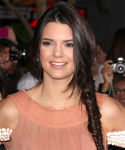 Kendall Jenner Updo Long Straight Casual Updo Braided Hairstyle - Dark Brunette Hair Color