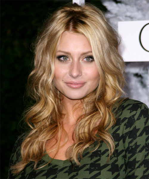 Alyson Michalka Long Wavy Casual Hairstyle - Dark Blonde (Golden) Hair Color
