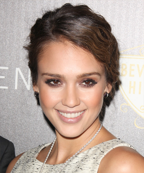 Jessica Alba Curly Formal Updo Hairstyle - Dark Brunette Hair Color