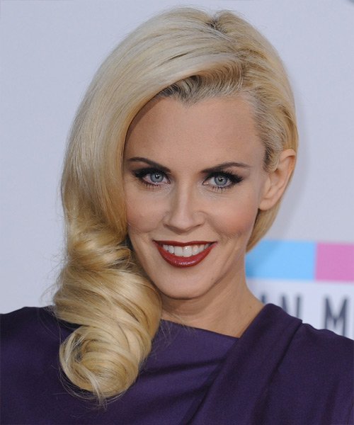 Jenny McCarthy Long Wavy Formal Hairstyle - Light Blonde (Golden) Hair Color