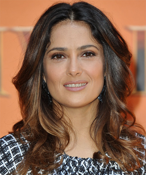 Salma Hayek Long Wavy Formal Hairstyle - Medium Brunette Hair Color