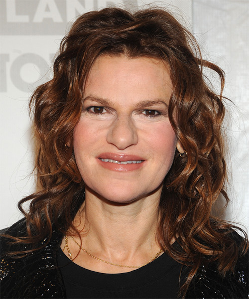 Sandra Bernhard Medium Wavy Hairstyle - Dark Red (Auburn)