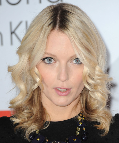 Lauren Laverne Medium Wavy Formal Hairstyle - Light Blonde Hair Color