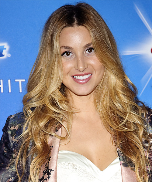 Whitney Port Long Wavy Formal Hairstyle - Dark Blonde (Golden) Hair Color