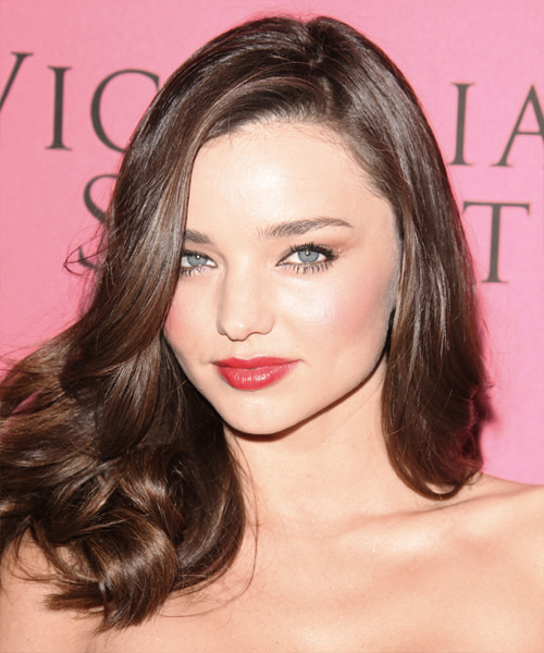 Miranda Kerr Long Wavy Hairstyle - Medium Brunette (Chocolate)
