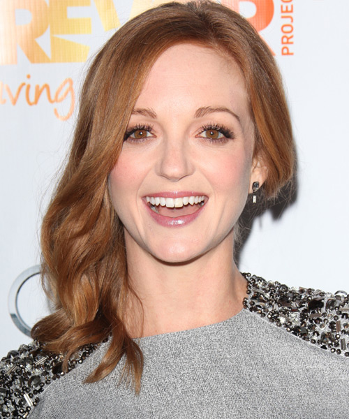 Jayma Mays Long Wavy Casual Hairstyle - Light Brunette (Copper)