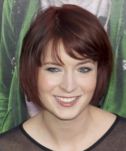 Diablo Cody Short Straight Casual Bob Hairstyle with Layered Bangs - Dark Red (Plum) Hair Color