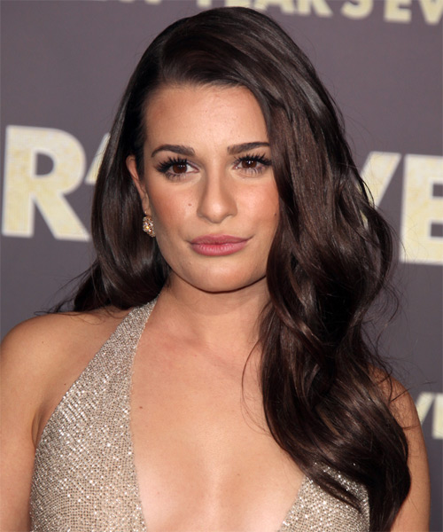 Lea Michele Long Straight Casual Hairstyle - Dark Brunette (Mocha) Hair Color