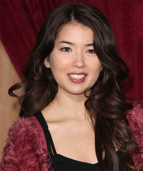 Nichole Bloom Long Wavy Formal Hairstyle - Dark Brunette Hair Color