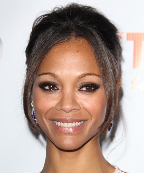 Zoe Saldana Straight Formal Updo Hairstyle - Dark Brunette Hair Color
