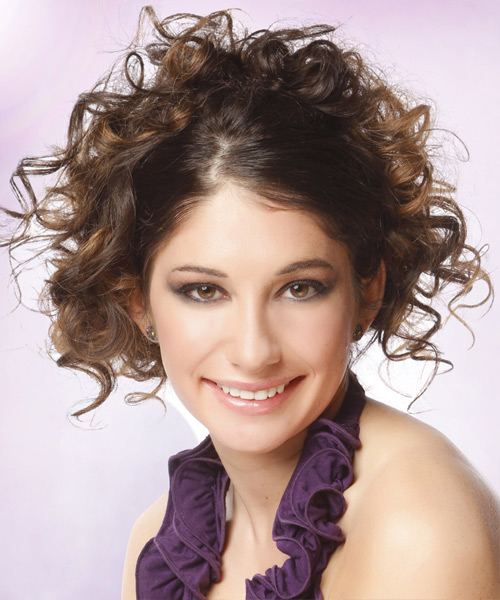 Curly Casual Updo Hairstyle - Medium Brunette Hair Color