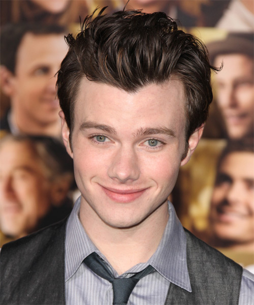 Chris Colfer Short Straight Hairstyle - Dark Brunette