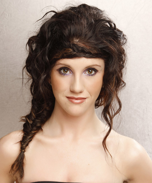 Curly Casual Updo Hairstyle - Dark Brunette Hair Color