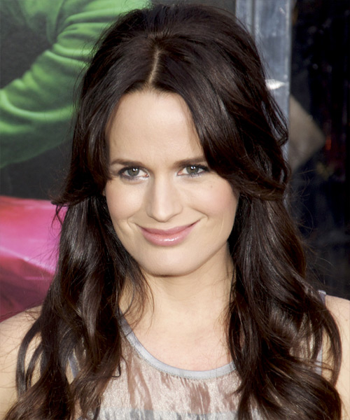 Elizabeth Reaser Half Up Long Curly Casual Half Up Hairstyle - Dark Brunette (Mocha) Hair Color