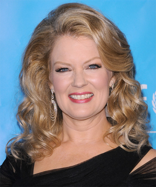 Mary Hart Medium Wavy Hairstyle - Medium Blonde (Honey)