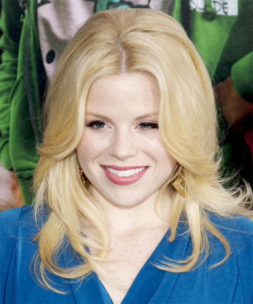 Megan Hilty Long Straight Casual Hairstyle - Light Blonde Hair Color