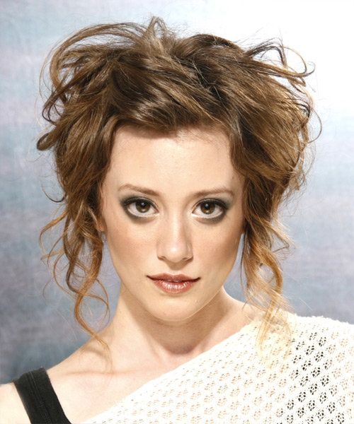 Formal Curly Updo Hairstyle - Medium Brunette (Ash)