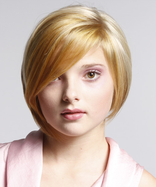 Short Straight Formal Bob Hairstyle with Side Swept Bangs - Medium Blonde Hair Color