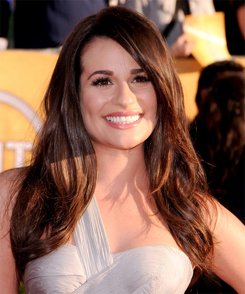Lea Michele Long Straight Casual Hairstyle (Mocha)